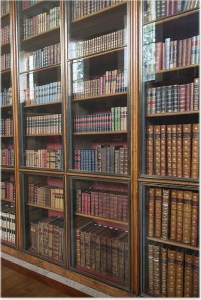 Poster Victoriaanse bibliotheek boekenkast met glazen deuren ...