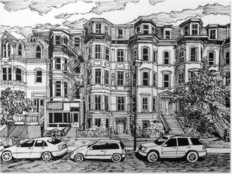 Poster Victoriaanse huizen vooraanzicht