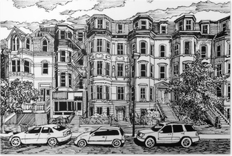 Victorian townhouses front view Poster