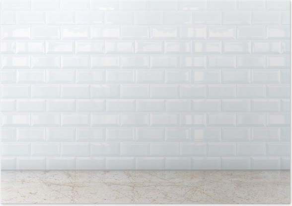 Poster Vide perspective chambre avec mur blanc carreaux de céramique ...