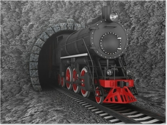 Poster Vieille locomotive dans le tunnel