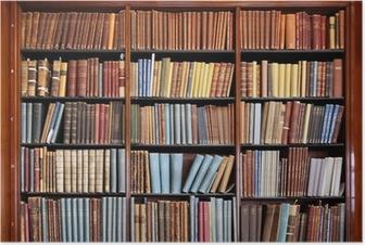 Póster Vieja estantería de la biblioteca