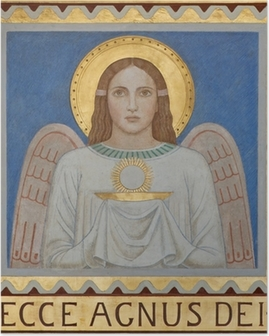 Vienna - Fresco of symbolic angel with the Eucharist Poster