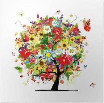 Poster Vier seizoenen concept. Kunst boom voor uw ontwerp