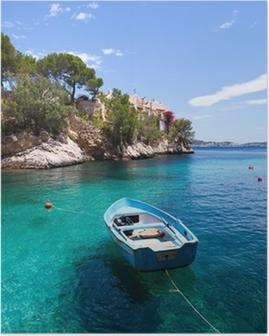 Poster Vieux bateau à rames amarré à Cala Fornells, Majorque