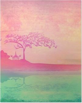 Poster Vieux papier avec le paysage asiatique