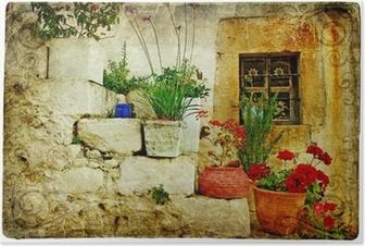 Poster Vieux villages de Grèce - artistique de style rétro