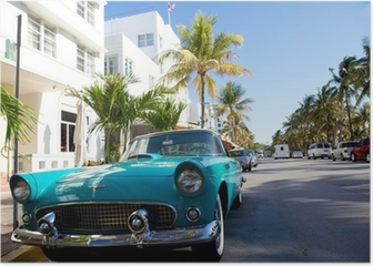 View of Ocean drive with a vintage car Poster