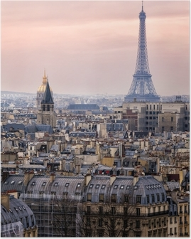 View of Paris and of the Eiffel Tower from Above Poster