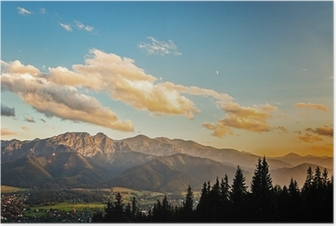 View on panorama of Tatras at sunset, Poland. Poster