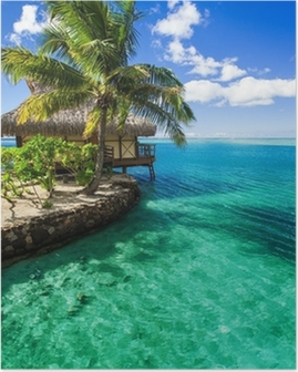 Poster Villa tropicale et le palmier à côté de la lagune verte