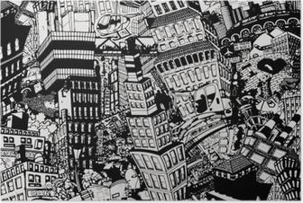 Poster Ville, une illustration d'un grand collage, avec des maisons, des voitures et des personnes