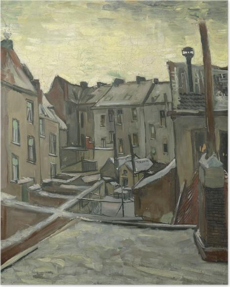 Poster Vincent van Gogh - Arrière-cours des maisons anciennes à Anvers dans la neige - Reproductions