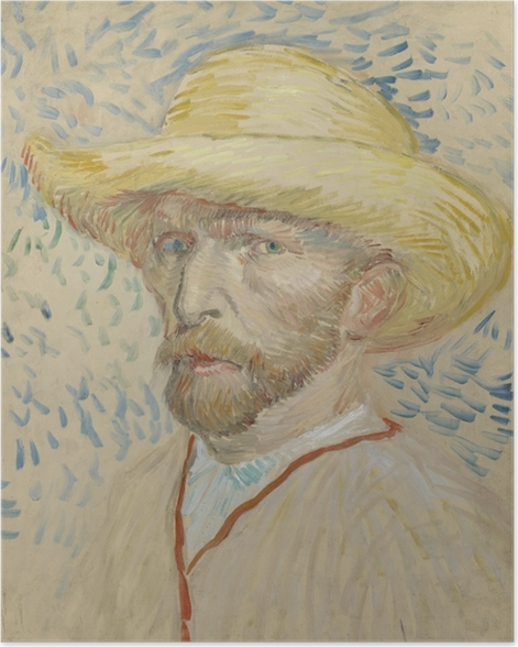 Poster Vincent van Gogh - Autoportrait avec un chapeau de paille et sarrau de l'artiste - Reproductions