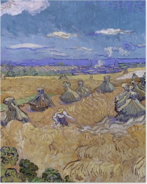 Poster Vincent van Gogh - Champ de blé avec Reaper - Reproductions