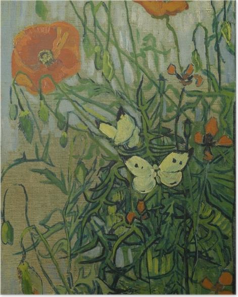 Poster Vincent van Gogh - Coquelicots et papillons - Reproductions