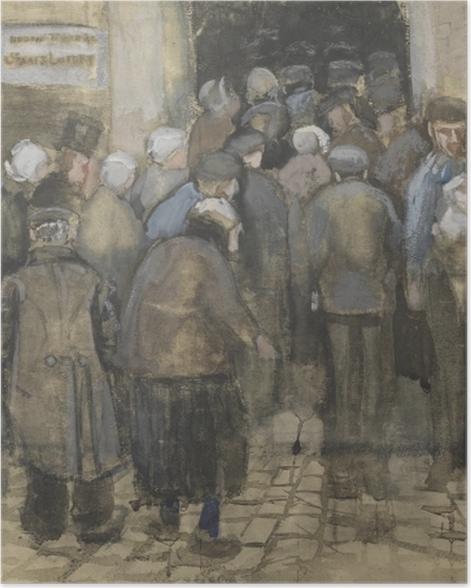 Poster Vincent van Gogh - faire la queue pour l'argent mal - Reproductions