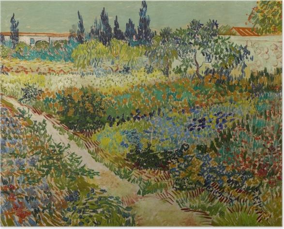 Poster Vincent van Gogh - Jardin fleuri avec chemin - Reproductions