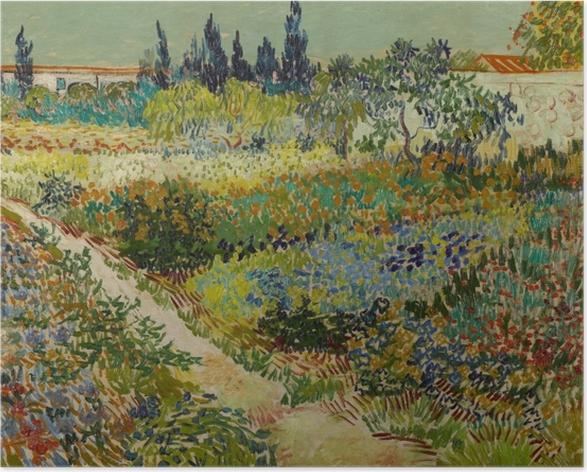 Póster Vincent van Gogh - Jardín floreciente con la trayectoria - Reproductions
