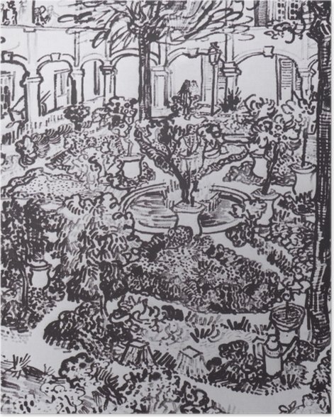 Poster Vincent van Gogh - La cour de l'hôpital - Reproductions