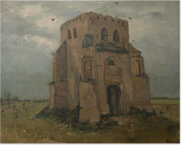 Póster Vincent van Gogh - La torre de la iglesia vieja en Nuenen - Reproductions