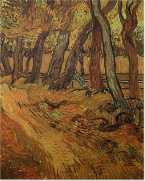 Poster Vincent van Gogh - Le Jardin de Saint-Paul Hospital avec la figure - Reproductions
