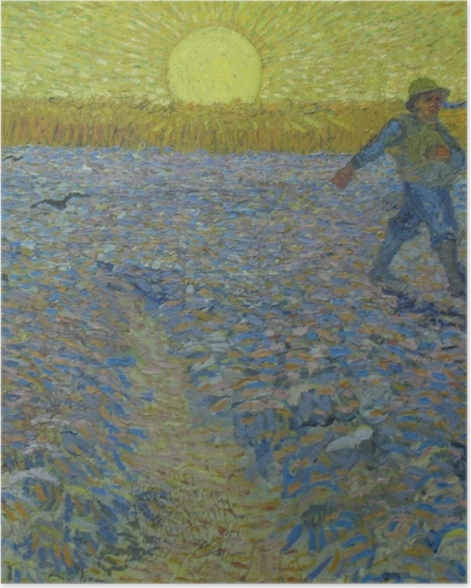 Poster Vincent van Gogh - Le semeur au coucher du soleil - Reproductions