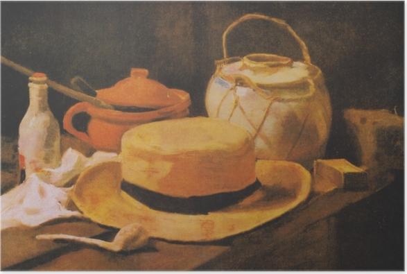 Poster Vincent van Gogh - Nature morte avec chapeau de paille jaune - Reproductions