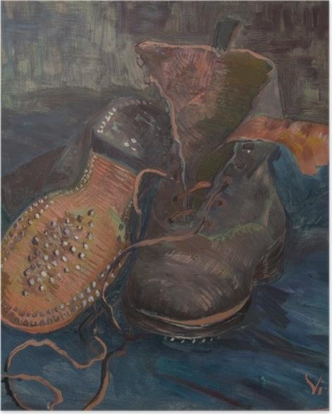 Poster Vincent van Gogh - Paire de souliers sur sol bleu - Reproductions