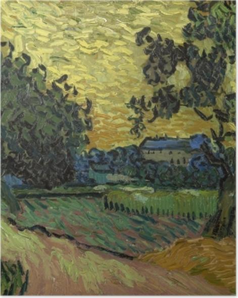 Poster Vincent van Gogh - Paysage avec le château d'Auvers au coucher du soleil - Reproductions