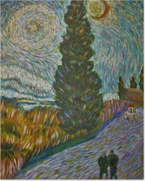 Poster Vincent van Gogh - Route avec un cyprès et une étoile - Reproductions