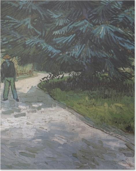 Poster Vincent van Gogh - Un couple dans le parc avec des sapins bleus - Reproductions