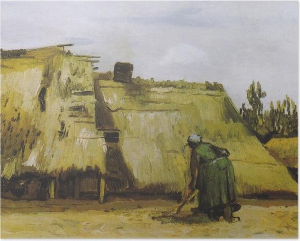 Poster Vincent van Gogh - Une paysanne creuser devant son chalet - Reproductions