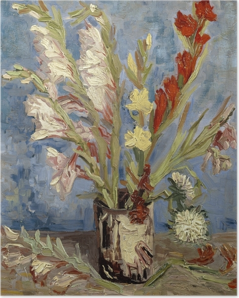 Vincent van Gogh - Vase with Gladioli and Chinese Asters Poster - Reproductions