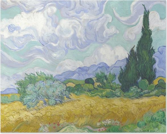 Póster Vincent van Gogh - Verde Campo de trigo con ciprés - Reproductions