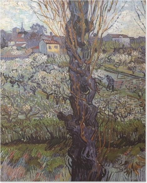 Poster Vincent van Gogh - Verger en fleur avec vue d'Arles - Reproductions