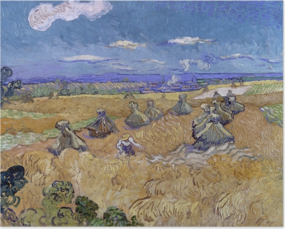 Vincent van Gogh - Wheat Field with Reaper Poster - Reproductions