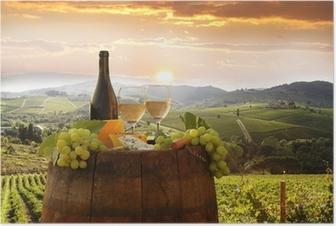 Póster Vino blanco con barell en el viñedo, Chianti, Toscana, Italia