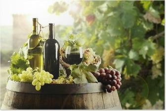 Póster Vino con el barril y el viñedo