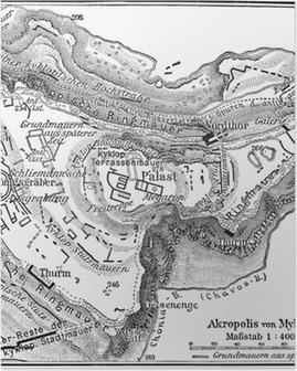 Poster Vintage 19e eeuwse kaart van Mycene, Plan van de Akropolis