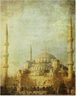 Poster Vintage beeld van de Blauwe Moskee, Istanbul
