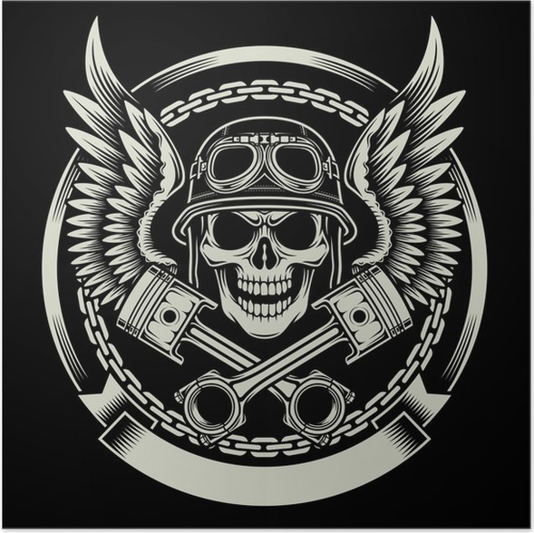 Vintage Biker Skull With Wings And Pistons Emblem Poster Pixers
