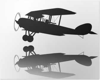 Vintage Biplane Taking Off Vector Silhouette Wall Mural O PixersR We Live To Change