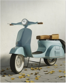 Vintage blue motorcycle vespa, by wall with fallen leaves Poster