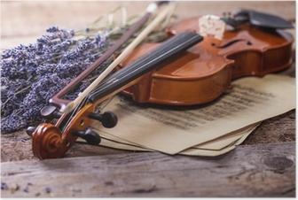 Poster Vintage compositie met viool en lavendel