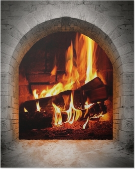Vintage fireplace with burning logs. Poster