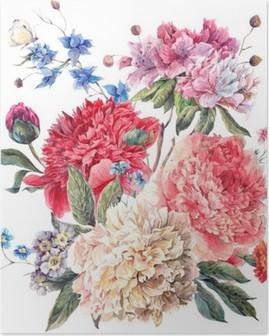 Vintage Floral Greeting Card with Blooming Peonies Poster