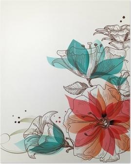 Poster Vintage fond de fleurs
