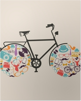 Vintage hipsters icons bike. Poster
