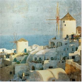 Vintage image of Oia village at Santorini island, Greece Poster
